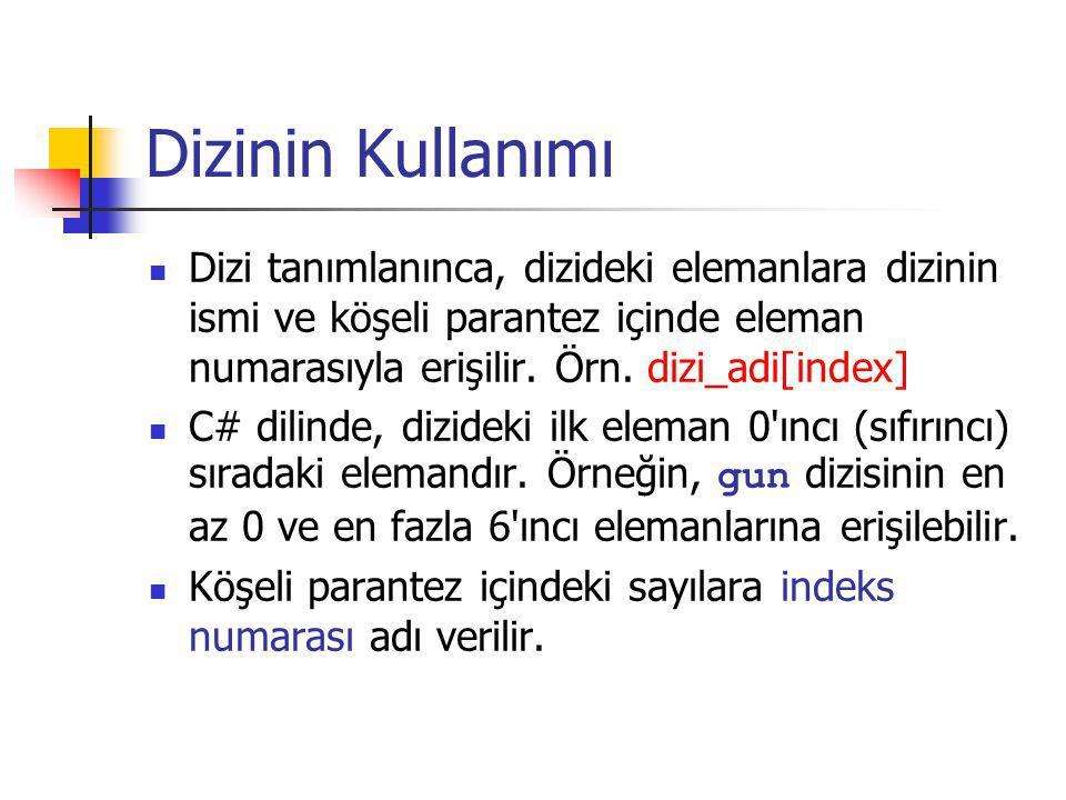 Dizinin Kullanımı Dizi tanımlanınca, dizideki elemanlara dizinin ismi ve köşeli parantez içinde eleman numarasıyla erişilir. Örn. dizi_adi[index]